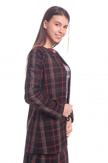 Купить кардиган коричневый с красной полосой Деловая женская одежда