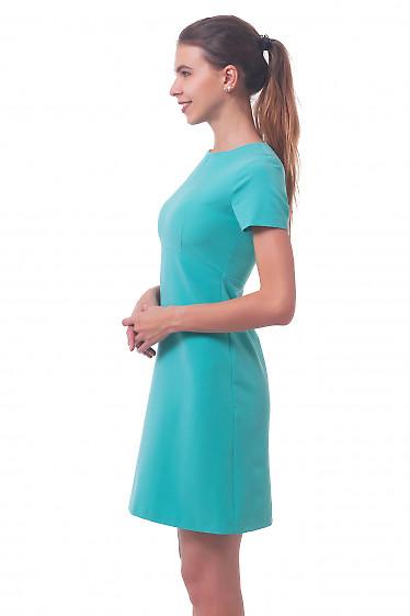 Купить платье бирюзовое с коротким рукавом Деловая женская одежда