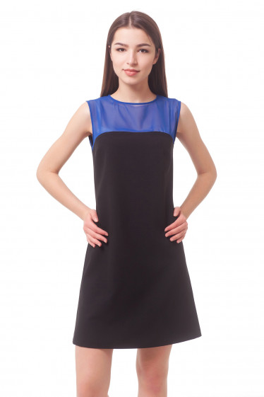 Black dress with blue insert Business women's clothing