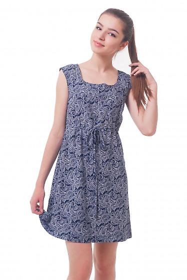 Платье синее с кулиской Деловая женская одежда