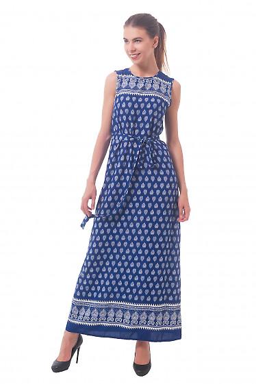 Синее длинное платье в белый узор Деловая женская одежда
