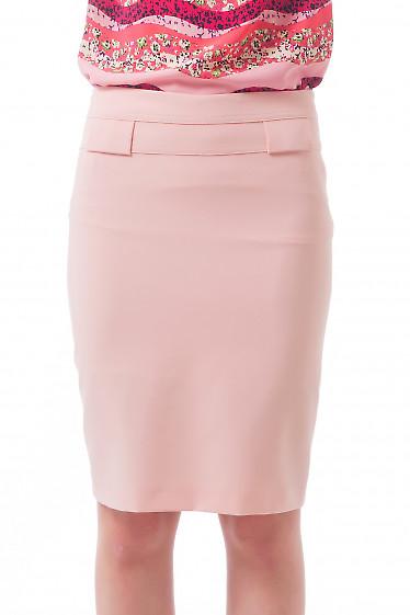 Юбка бледно-розовая с двойным поясом Деловая женская одежда