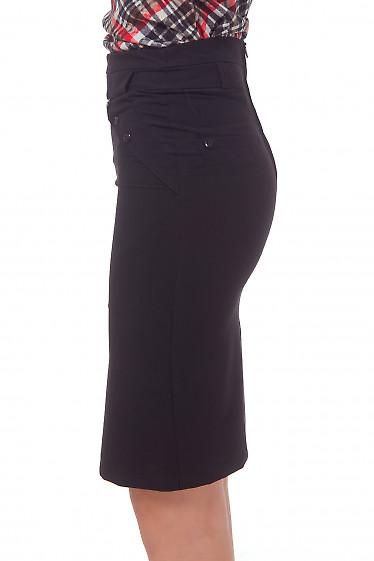 Купить юбку черную с клапанами Деловая женская одежда