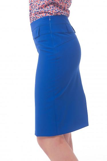 Купить юбку индиго с двойной кокеткой Деловая женская одежда