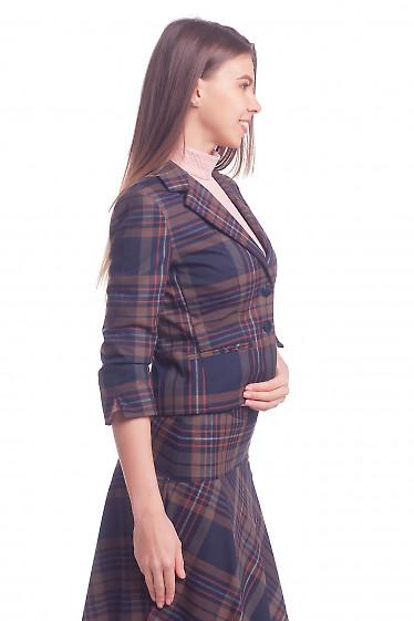 Жакет короткий в клетку Деловая женская одежда