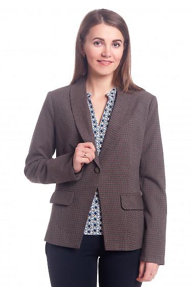 Жакет в мелкую коричневую лапку Деловая женская одежда