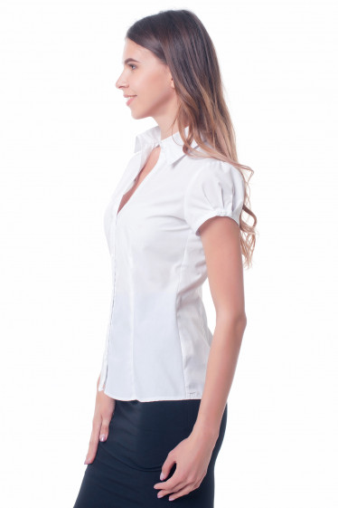 Купить белую женскую блузку с отложным воротником Деловая женская одежда фото