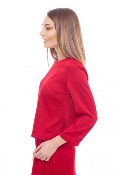 Утепленная трикотажная блузка красного цвета