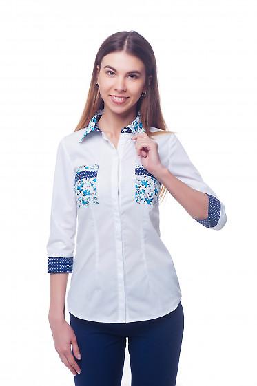 Блузка белая с синими карманами Деловая женская одежда фото