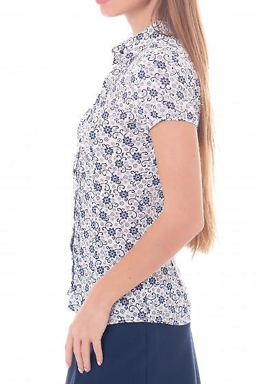 Купить блузку белую в синюю веточку Деловая женская одежда фото