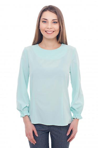 Блузка бирюзовая с резинкой на рукавах. Деловая женская одежда