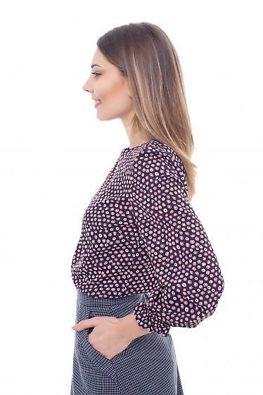 Купить бордовую блузку с резинкой на рукавах Деловая женская одежда фото
