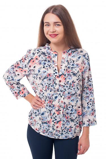Блузка молочная в синие цветы Деловая женская одежда фото