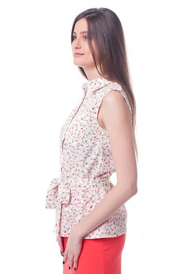 Купить блузку в тюльпанчики с карманами и поясом Деловая женская одежда фото