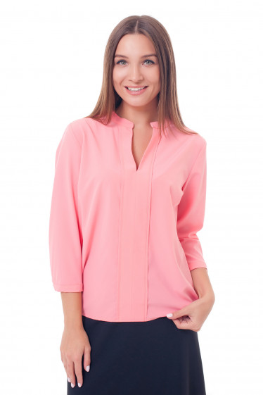 Блузка ярко-коралловая с резинками сбоку Деловая женская одежда фото