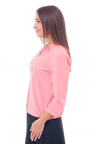 Купить блузку ярко-коралловую с резинками сбоку