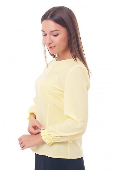 Купить блузку желтую с рукавом на резинке Деловая женская одежда фото