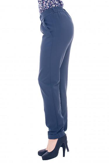 Женские синие теплые брюки на резинке