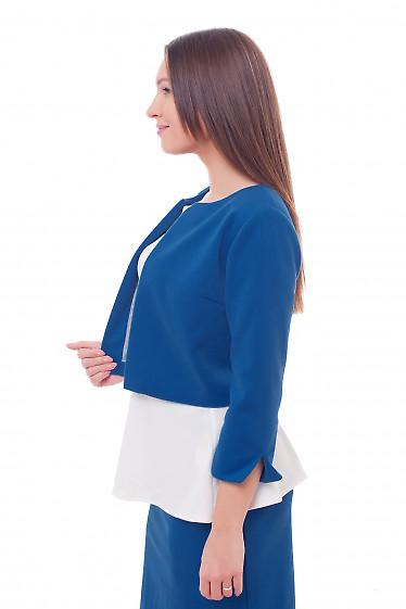 Купить кардиган теплый короткий цвета электрик Деловая женская одежда фото