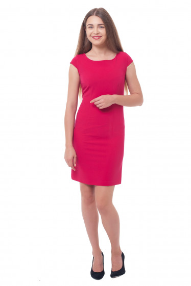 Купить платье-футляр малинового цвета Деловая женская одежда фото