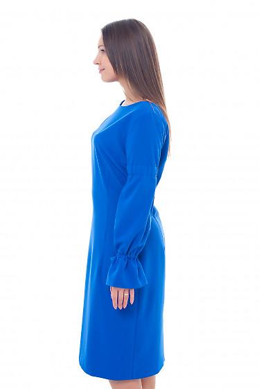 Купить платье электрик с лентой в рукавах Деловая женская одежда фото