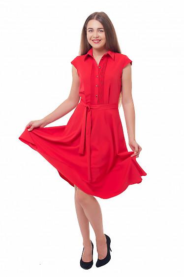 Купить платье с пышной юбкой и защипами красное Деловая женская одежда фото