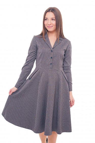 Платье теплое в коричневую лапку Деловая женская одежда фото