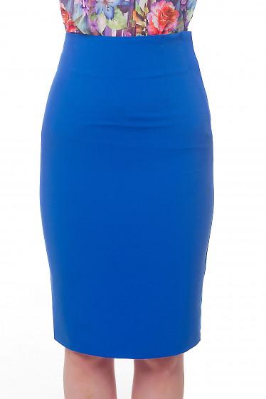 Юбка-карандаш цвета электрик с завышенной талией Деловая женская одежда