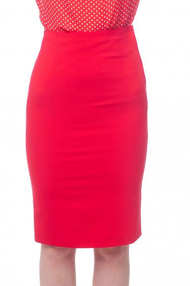 Юбка карандаш красная с высокой талией Деловая женская одежда фото