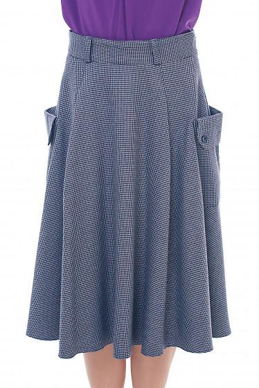 Серая юбка с накладными карманами Деловая женская одежда фото