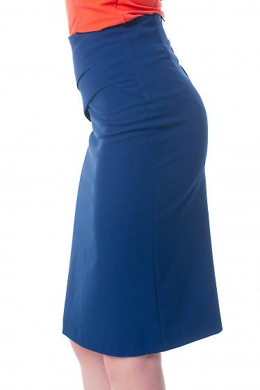 Купить синюю юбку с горизонтальными складками Деловая женская одежда фото
