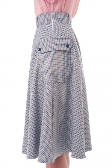 Теплая женская юбка в боковую клеточку