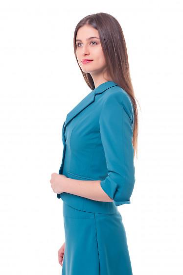 Купить жакет бирюзовый с разрезом на рукаве Деловая женская одежда фото