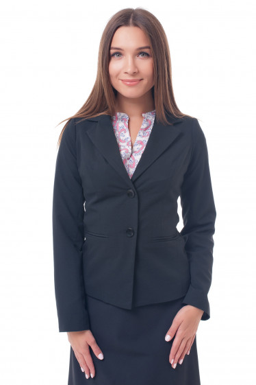 Жакет черный на двух пуговицах. Деловая женская одежда фото