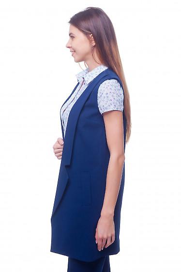 Купить жилет синий удлиненный с карманами Деловая женская одежда
