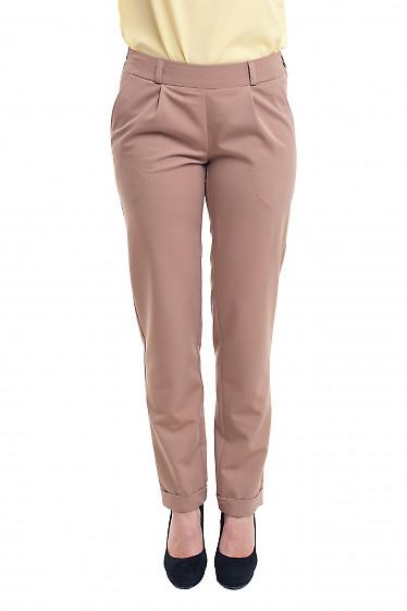 Бежевые женские брюки на резинке Деловая женская одежда фото