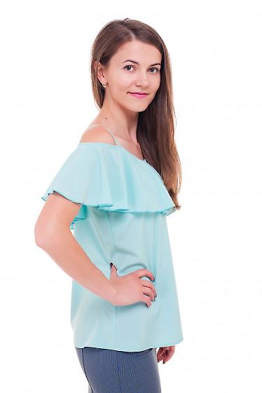 Купить блузку бирюзовую с широким воланом Деловая женская одежда фото