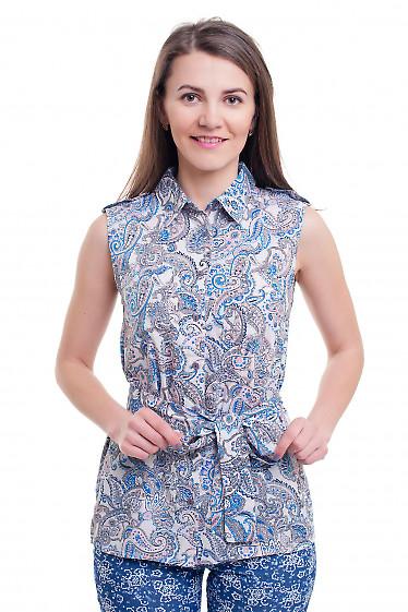 Блузка белая в голубой узор без рукавов Деловая женская одежда фото
