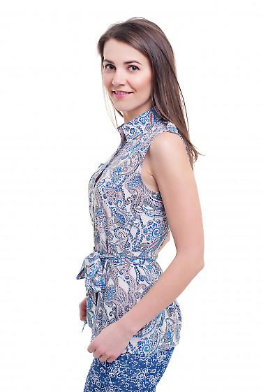 Купить блузку белую в голубой узор без рукавов Деловая женская одежда фото