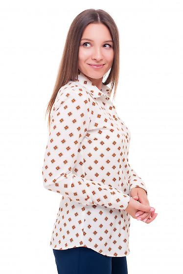Купить блузку белую в коричневый ромбик Деловая женская одежда фото