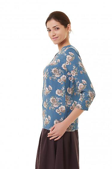 Купить бирюзовую блузку из крепа Деловая женская одежда фото