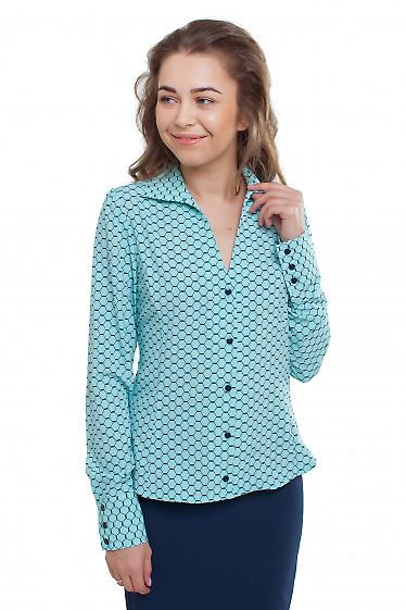 Блузка бирюзовая в ромбики Деловая женская одежда фото