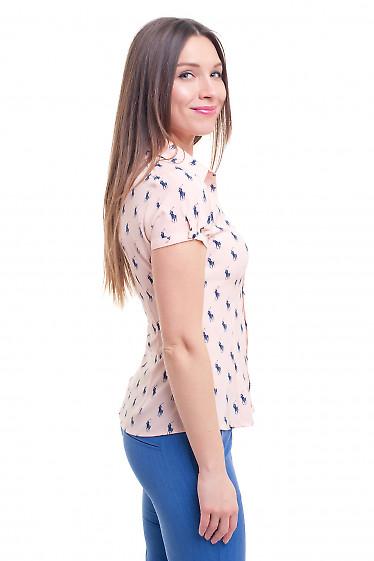 Купить блузку розовую в лошадки Деловая женская одежда фото
