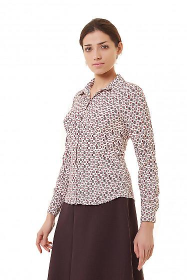 Купить блузку с планкой белую в коралловые узор Деловая женская одежда фото