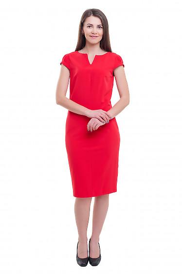 Купить красное платье с разрезом на горловине Деловая женская одежда фото