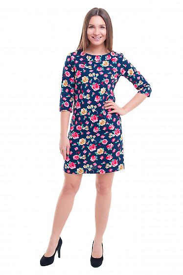 Купить льняное синее платье в розы Деловая женская одежда фото