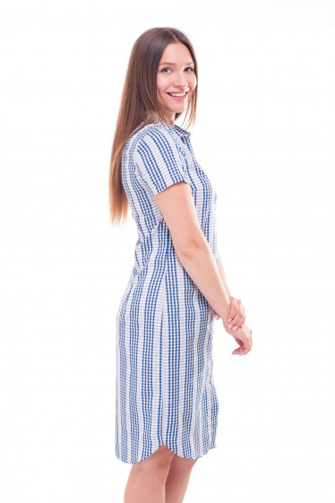 Купить платье-рубашку в синюю клетку Деловая женская одежда фото