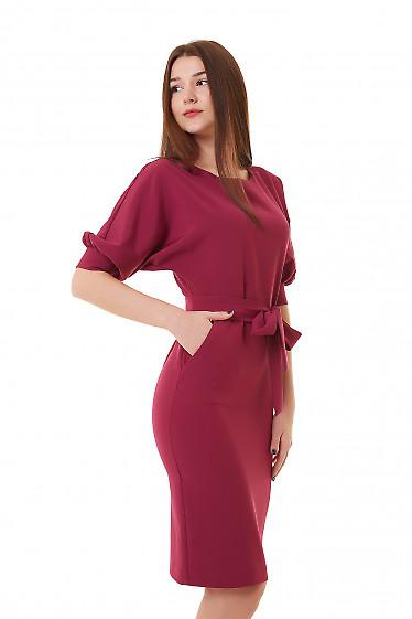 Купить платье фуксия с карманами и пышным рукавом Деловая женская одежда фото