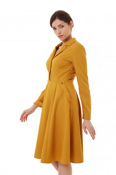 Купить горчичное платье с карманами деловая женская одежда фото