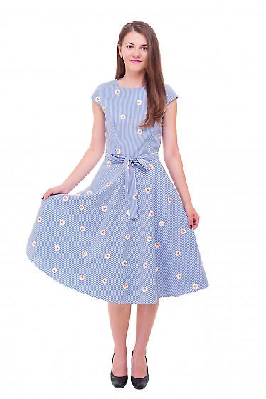 Полосатое платье из хлопка с вышитым цветком